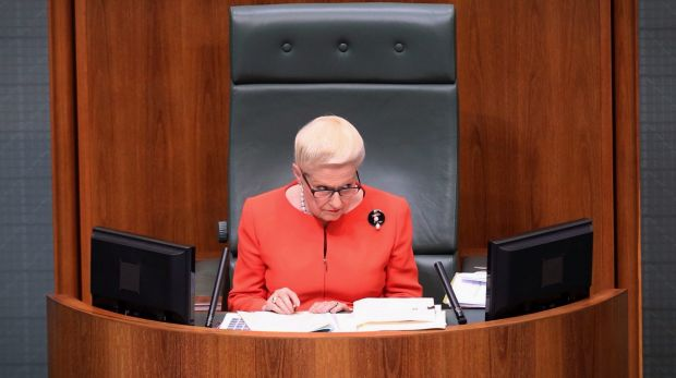 Former Speaker Bronwyn Bishop's decision to sit in the party room enraged the opposition, who questioned her ...