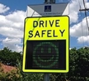 Smiley speeding sign on a Brisbane street.
