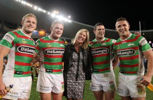 Family affair: Thomas, George, Julie, Luke and Sam Burgess after South Sydney's round 25 clash with Wests Tigers in ...
