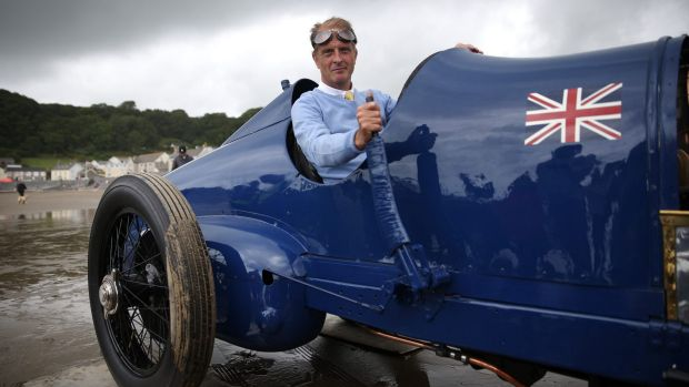 Old timer: Don Wales sits in the original Sunbeam car, driven by Malcolm Campbell on July 21, 1925, on the sands at ...