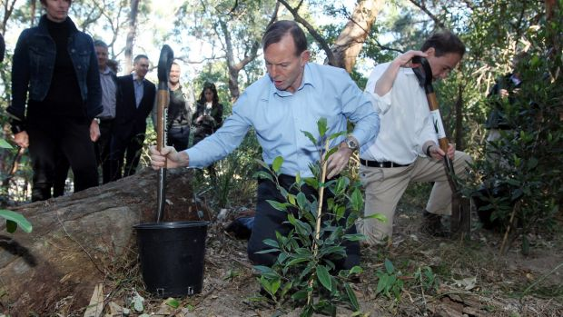 Prime Minister Tony Abbott and Minister for the environment Greg Hunt at the launch of the Green Army initiative.
