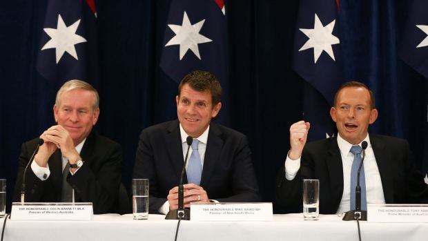 WA Premier Colin Barnett, NSW Premier Mike Baird and Prime Minister Tony Abbott during a joint press conference after ...