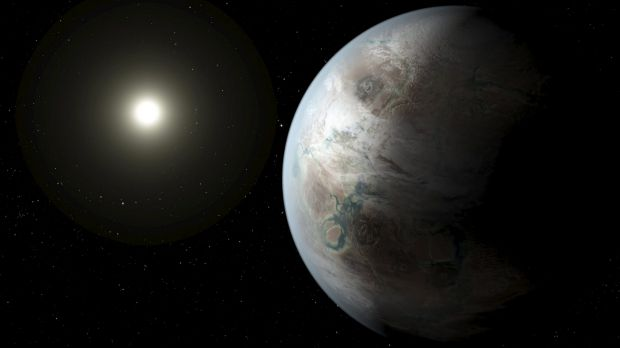An artist's impression of one possible appearance of the planet Kepler-452b, the first near-Earth-size world to be found ...