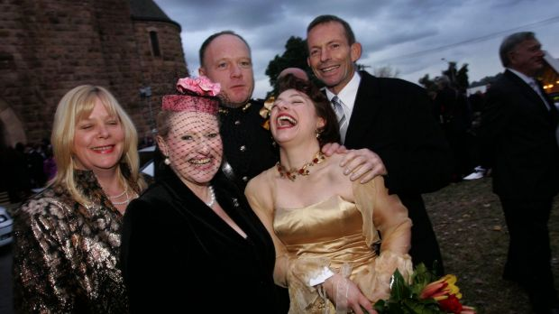 Bronwyn Bishop and Tony Abbott, right, at the wedding of Greg and Sophie Mirabella, for which Bishop and other ...