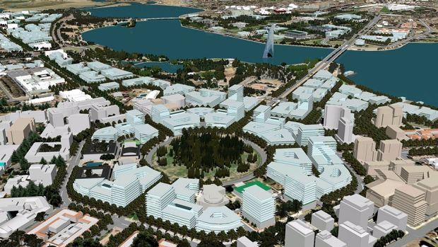 An artist's impression of development at City Hill and West Basin, from the draft new National Capital Plan.