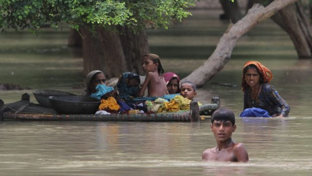 Floods in Pakistan in July 2015. A switch from El Nino to a La Nina may mean floods for China and elsewhere.