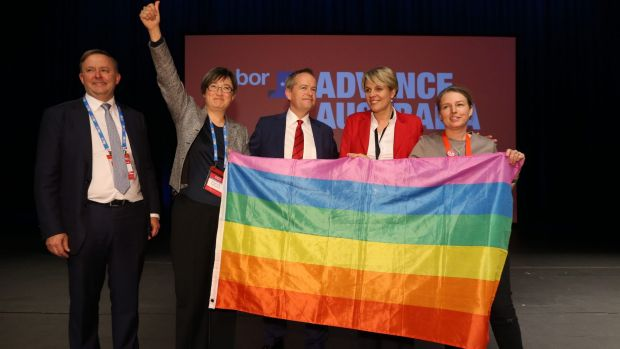 Labor MPs show off a rainbow flag.