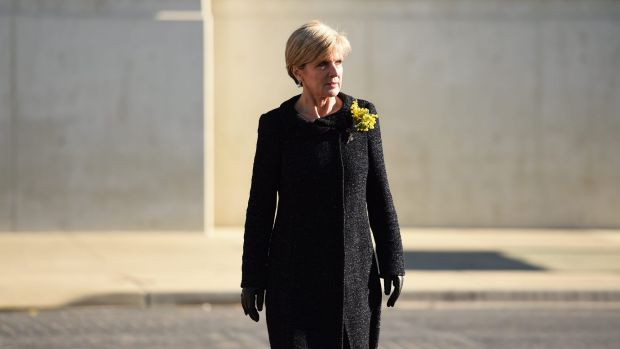 Foreign Minister Julie Bishop, pictured arriving for a MH17 memorial service in Canberra earlier this month, is in New ...