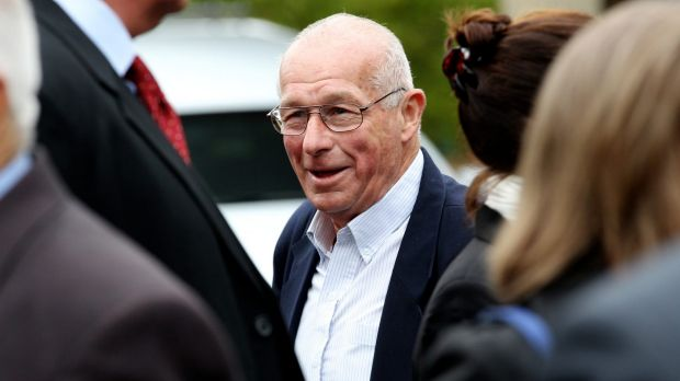 """Roger Rogerson at Graham """"Chook"""" Fowler's funeral in Palmdale, in 2013."""