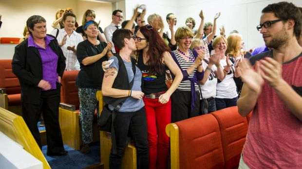 Julie Manyard and Frances Bodel celebrate the ACT government passing the same-sex marriage bill in 2013.