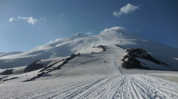 Russia's Mount Elbrus was the third of seven summits Mr Hudson plans to climb.