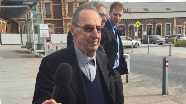 Former Ballarat Bishop Ronald Mulkearns at an earlier hearing in Geelong