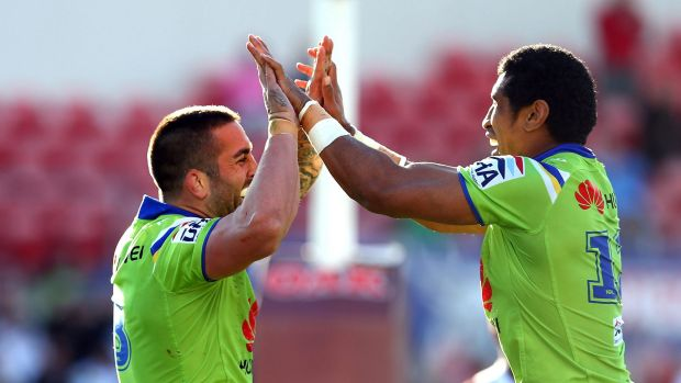 Raiders forwards Paul Vaughan and Sia Soliola celebrate last Sunday's 34-24 win in Penrith. The Raiders have the ...