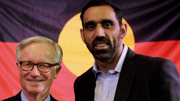 Adam Goodes with former senator Fred Chaney.