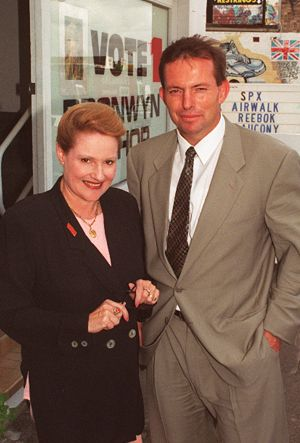 Bronwyn Bishop and Tony Abbott on the campaign trail.