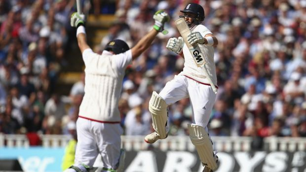 Ian Bell (left) and Joe Root celebrate guiding England past their victory target of 121.