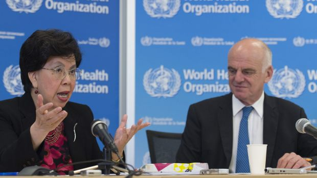 China's Margaret Chan, Director General of the World Health Organisation, left, and David Nabarro, UN Special Envoy on ...