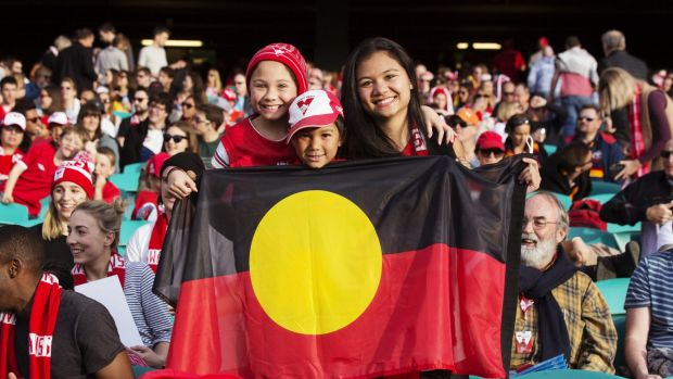 Sydney Swans supporters hold a flag for Adam Goodes.