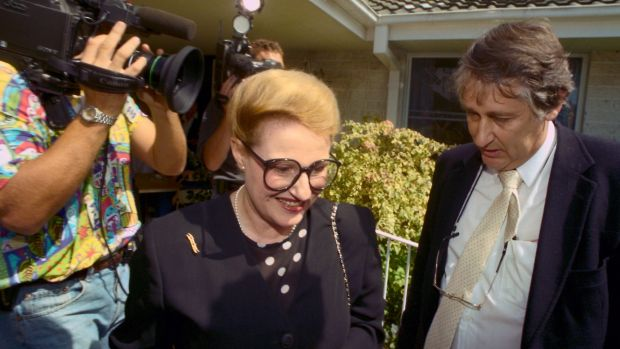 Bob Ellis crosses paths with Liberal Party rival Bronwyn Bishop during the 1994 Mackellar byelection.