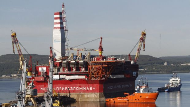 The Prirazlomnaya platform is towed from Murmansk to an oilfield in the Pechora Sea, northern Russia.