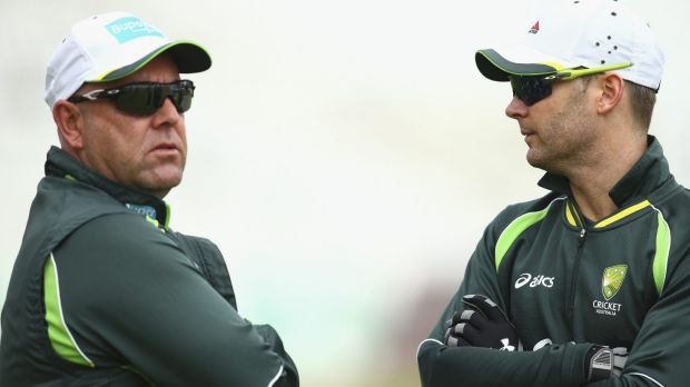 Coach Darren Lehmann and retiring captain Michael Clarke.