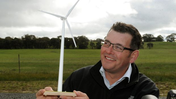 Premier Daniel Andrews at the site of the Ararat wind farm.