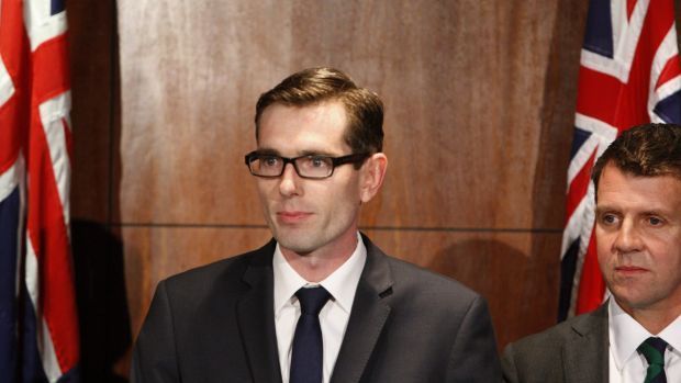 Dominic Perrottet, NSW Minister for Finance, Services and Property, at a press conference with Premier Mike Baird.