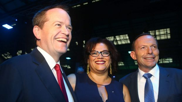 Opposition Leader Bill Shorten, Recognise campaign director Tanya Hosch, with former prime minister Tony Abbott in ...