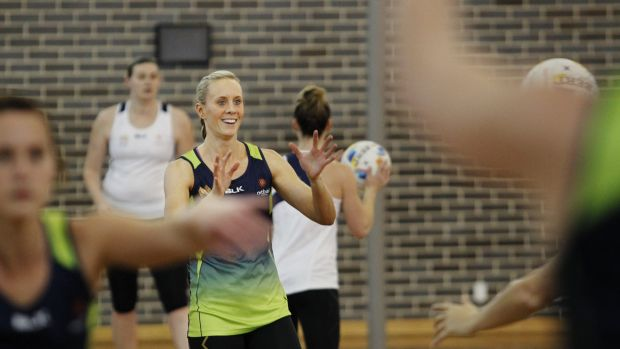 Focused: Australian Diamonds netballer Renae Hallinan.