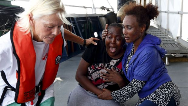 In a separate incident, migrants were rescued off the coast of Libya on Monday.