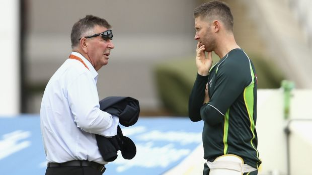 Australian Chairman of Selectors Rod Marsh speaks to Michael Clarke.