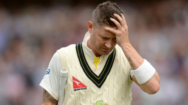 Disastrous day: Australian captain Michael Clarke leaves the field after being dismissed for 10.