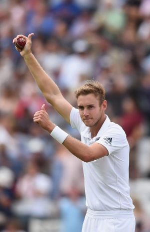 The destroyer: Stuart Broad  gives a thumbs-up.