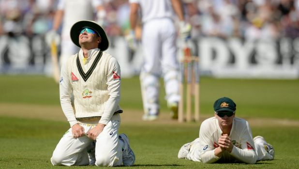 Master's apprentice: Michael Clarke and Steve Smith fail to catch Alastair Cook out.