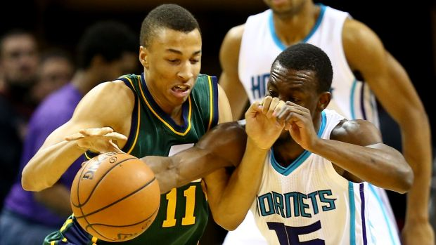 Dante Exum (left) is one of two Australians playing for Utah Jazz.