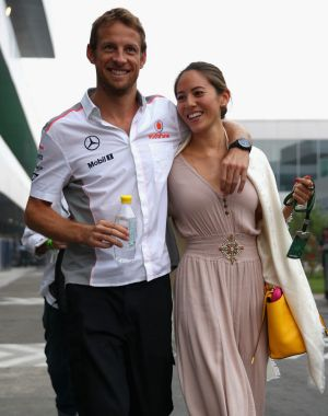 Button split with model wife Jessica Michibata in December.