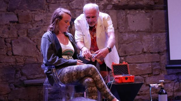 Dr Philip Nitschke at the opening night of <i>Dicing with Doctor Death</i> at the Edinburgh Fringe Festival.