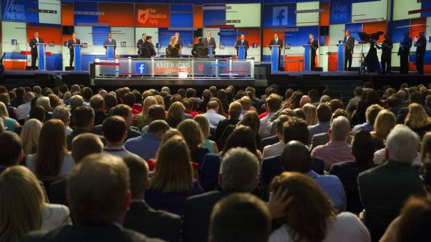 Republican presidential candidates on the stage for the debate.