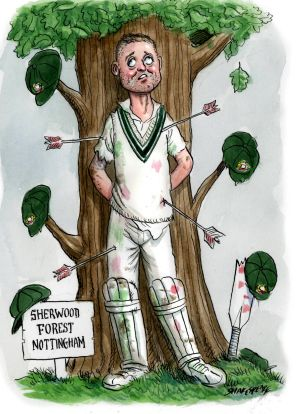On the way out? Michael Clarke. <i>Illustration: John Shakespeare</i>