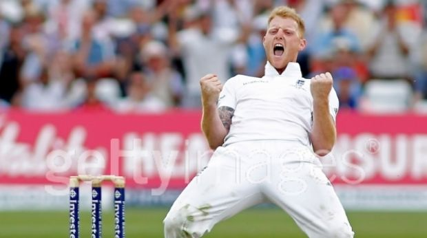 Stoked: England's Ben Stokes taking the wicket of Peter Nevill.