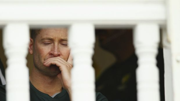 Michael Clarke looks on from the change rooms after he was dismissed.