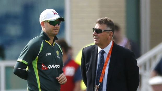 Michael Clarke talks with Australian Chairman of Selectors Rod Marsh before the start of play.