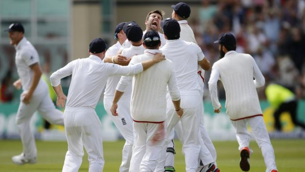 The moment: England's Mark Wood takes the wicket of Nathan Lyon.