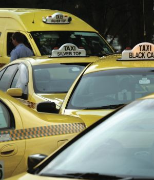 Taxis waiting for customers at Melbourne Airport.