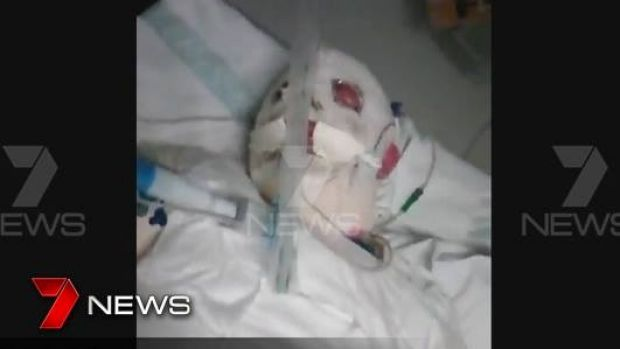 A screenshot of the injured boy, as shown by Channel Seven.