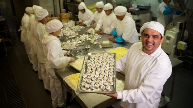 Pierre Issa, founder of Australian butter company Pepe Saya, hand churns about five tonnes of butter a week with his 22 ...