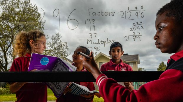 Students at Harrisfield Primary School in Noble Park in Victoria.
