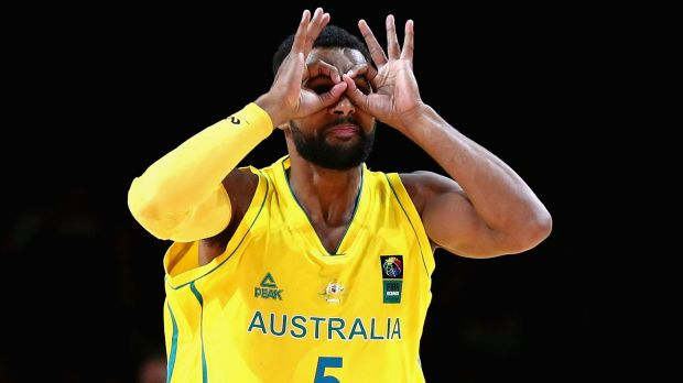 Patty Mills celebrates in his own inimitable style after scoring.
