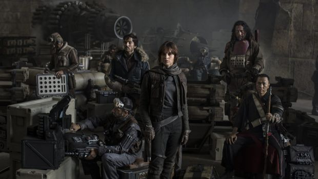 <i>Star Wars: Rogue One</i> (left to right): Actors Riz Ahmed, Diego Luna, Felicity Jones, Jiang Wen and Donnie Yen.