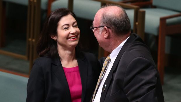 Warren Entsch and Terri Butler at the introduction of a private member's bill on marriage equality in August last year. ...